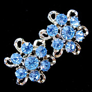 Vintage Sky Blue Rhinestone Screwback Earrings