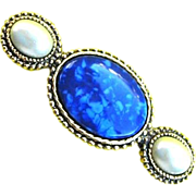 Vintage Gold Tone Metal Brooch Pin w. Three Stones