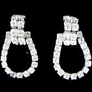 Vintage Costume Jewelry Rhinestone Dangle Earrings