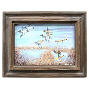 Original Burkland Oil Painting of Ducks in Flight