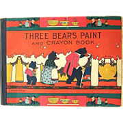 SALE Rare 1932 Three Bears Paint and Crayon Book McLoughlin Bros.