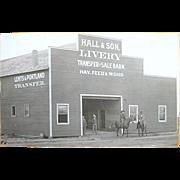 Lents & Portland Oregon Real Photo Postcard Hall & Sons Livery c. 1905