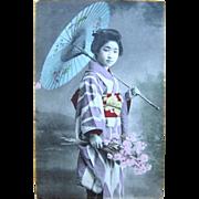 Hand-Painted Real Photo Japanese Geisha Postcard 1907