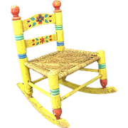 Folk Art Mexican Wood Child's Rocking Chair Tole Painted Yellow