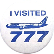 Vintage Boeing 777 Aviation Pin / Button
