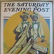 SALE Framed Saturday Evening Post Minstrels 1930 Black Americana
