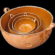 4 Mexican Tonala Nesting Pottery Bowls Signed Pablo Jarero
