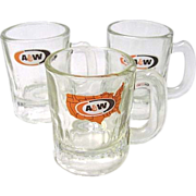 SALE 3 Vintage Glass Mini A&W Root Beer Mugs