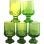 Five Franciscan Madeira Tiffin Green Stemmed Glasses 1970s