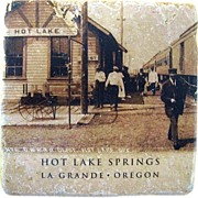 Hot Lake Springs Railroad Depot Tile Trivet La Grande Oregon