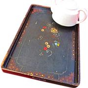 Rustic Large Japanese Lacquer Tea Tray Floral Design
