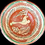 Vintage Mexican Bandera Redware Pottery Bowl w. Bird