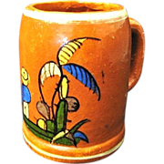 Large Vintage Redware Pottery Mug from Tlaquepaque Mexico