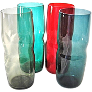 4 Chic Drinking Glasses in Red, Green, Blue, and Gray