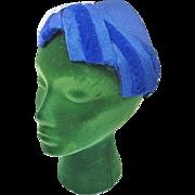 1950s Woman's Blue Hat w. Velvet Cording & Veil