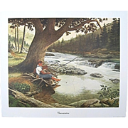 "SALE E. Howard Burger ""Concentration"" Fishing Print Signed Numbered Limited Edition"