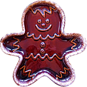 Hull Gingerbread Man Drip Glaze Pottery Cookie Plate c. 1970s