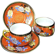 2 Vibrant Gild and Orange Floral Nippon Cups & Saucers c. 1930