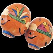 Tlaquepaque Mexico Pottery Pigs Salt & Pepper Shakers c. 1930s