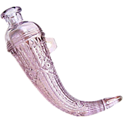 c. 1900 Sun Purple Cornucopia Horn Car Vase Pressed Glass EAPG
