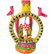 Small Mexican Pottery Tree of Life Nativity Folk Art Candle Holder