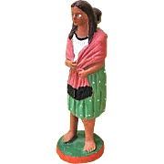SALE Tlaquepaque Mexico Folk Art Woman with Baby Figurine c. 1950s