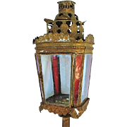 Vintage Architectural Salvage Lantern Metal and Glass