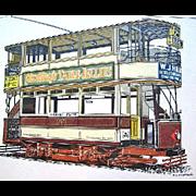 SALE Framed Limited Edition Print London West Ham Tramway Trolley Turner Wall Accessory