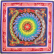 Vintage Signed Huichol Folk String / Yarn Art of Serpents & Sun