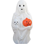 Empire Halloween Ghost w. Skull & Pumpkin Blow Mold Made in the USA.