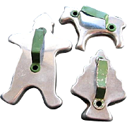 Vintage Green Handle Cookie Cutters Christmas Tree Gingerbread Man Horse
