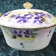 SALE Hand-painted E-OH Nippon Porcelain Covered Dish Floral Violet Design