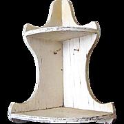 Shabby Chic Salvage White Wooden Corner Shelf