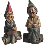 "SALE Two Tom Clark Cairn Studio Gnomes 1987 ""Mr."" ""Mrs."" Since Retired"