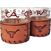 SALE PENDING 2 Libbey Bamco Western Brands & Rope Glasses Leather Sleeves