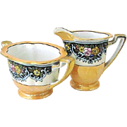 Hand-painted Noritake Lusterware Creamer & Sugar 1920s-30s