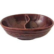 Marcrest Brown Daisy Dot Divided Oval Serving Bowl