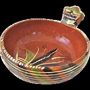 Vintage Rustic Mexican Tlaquepaque Pottery Redware Bowl / Handle