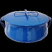 Huge Rare 8 Qt Kobenstyle Blue Dansk Enamelware Casserole / Dutch Oven Pan Circa 1965