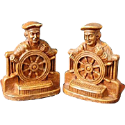 SALE Rare Stazo Co. Promotional Nautical Bookends Sailor at Ship's Wheel