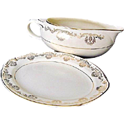 Taylor Smith Taylor Gravy Boat & Under-plate 22 K Gold Trim