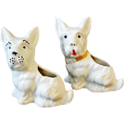 SALE Two Vintage White Ceramic Scottie Dog Planters