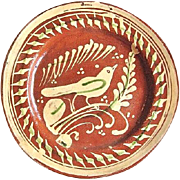 1930s Mexican Tlaquepaque Bandera Redware Pottery Plate w. Bird