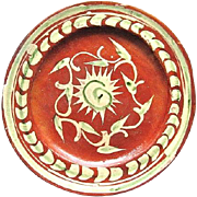 1930s Mexican Tlaquepaque Bandera Redware Pottery Plate Floral Design