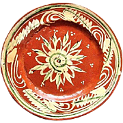 SALE 1930s Mexican Tlaquepaque Bandera Redware Pottery Plate Abstract Floral Design
