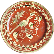 SALE 1930s Mexican Tlaquepaque Bandera Redware Pottery Plate w. Long-Tailed Bird