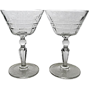 Four Elegant Libbey's Rock Sharpe Wayne Star of David Stem Wine Glasses