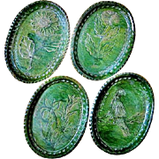 SALE 4 Rare Rustic Oval Green Pottery Plates from Atzompa in Oaxaca, Mexico