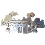 JJ Jonette Jewelry Co. Silver Tone Pewter Southwest Hacienda Brooch
