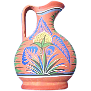 Opaque Mexican Pottery Pitcher from Tonala Floral Design